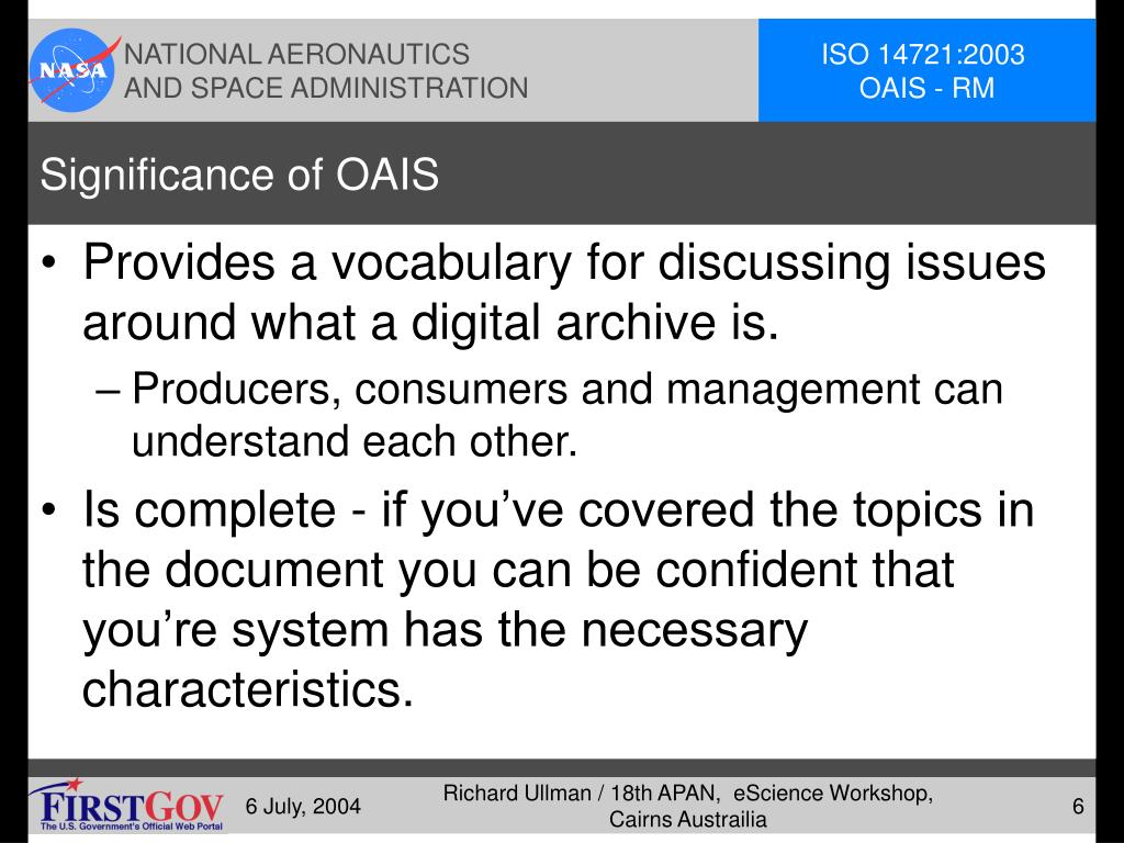 Significance of OAIS