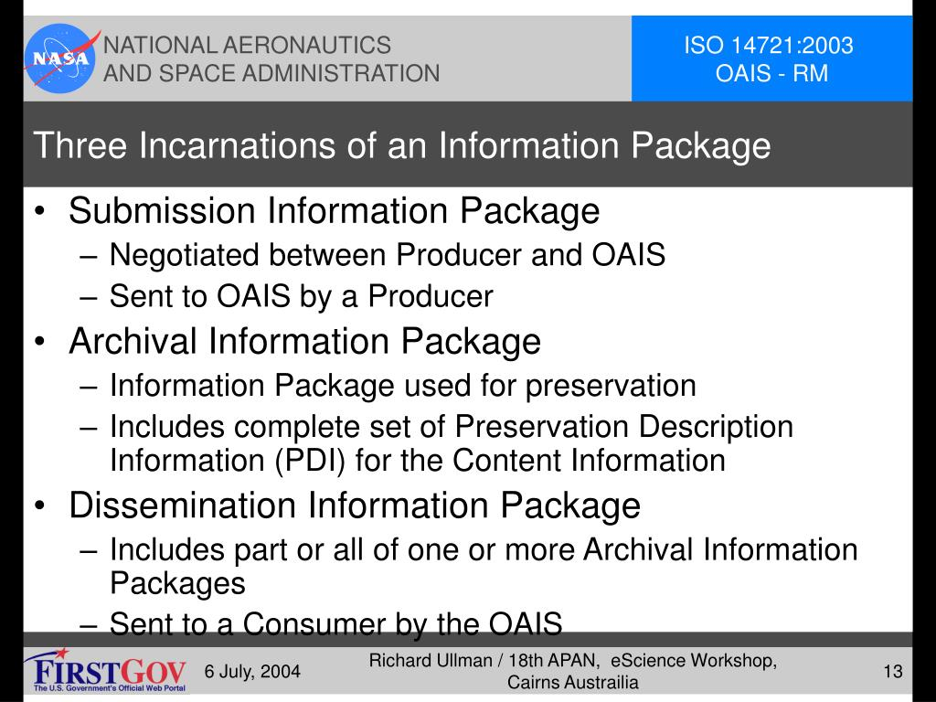 Three Incarnations of an Information Package