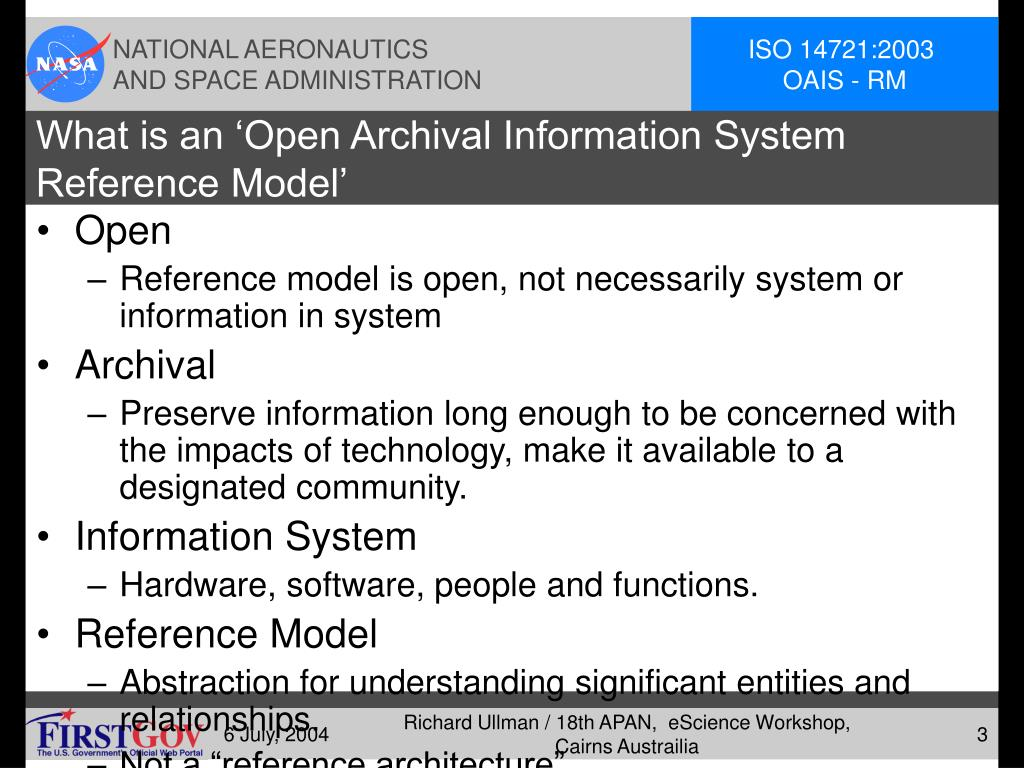 What is an 'Open Archival Information System Reference Model'