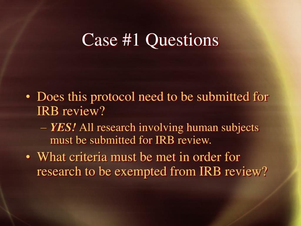 Case #1 Questions