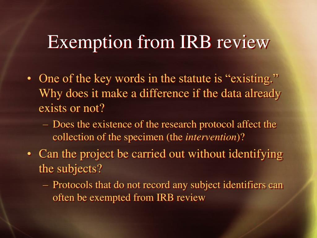 Exemption from IRB review