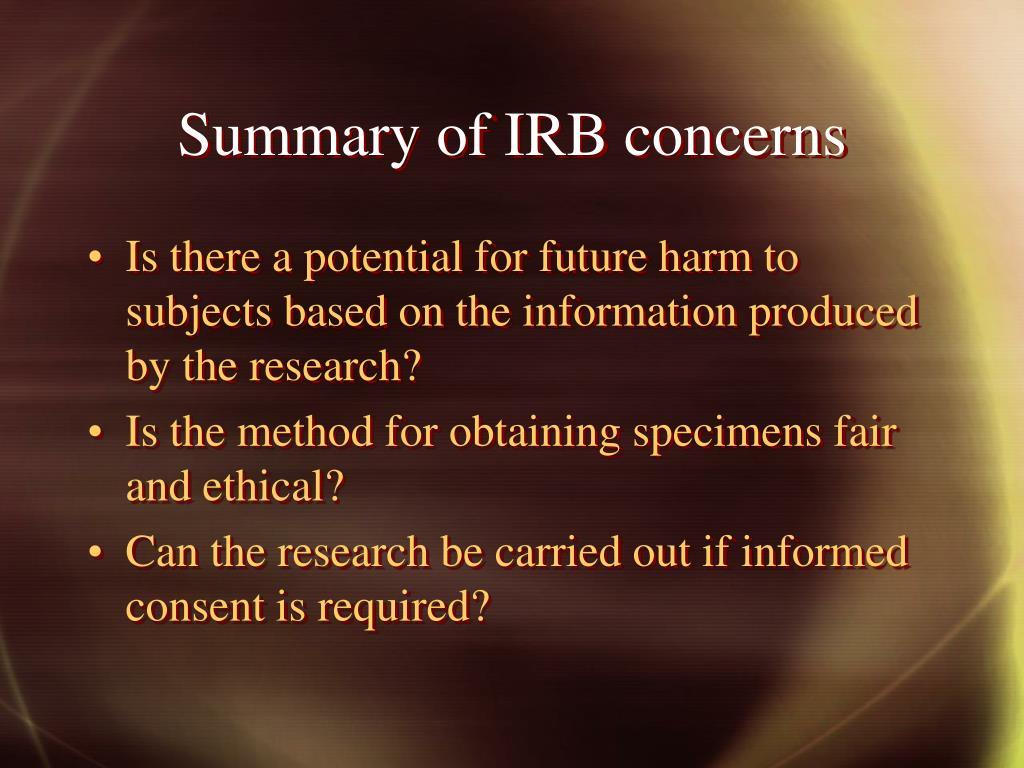 Summary of IRB concerns