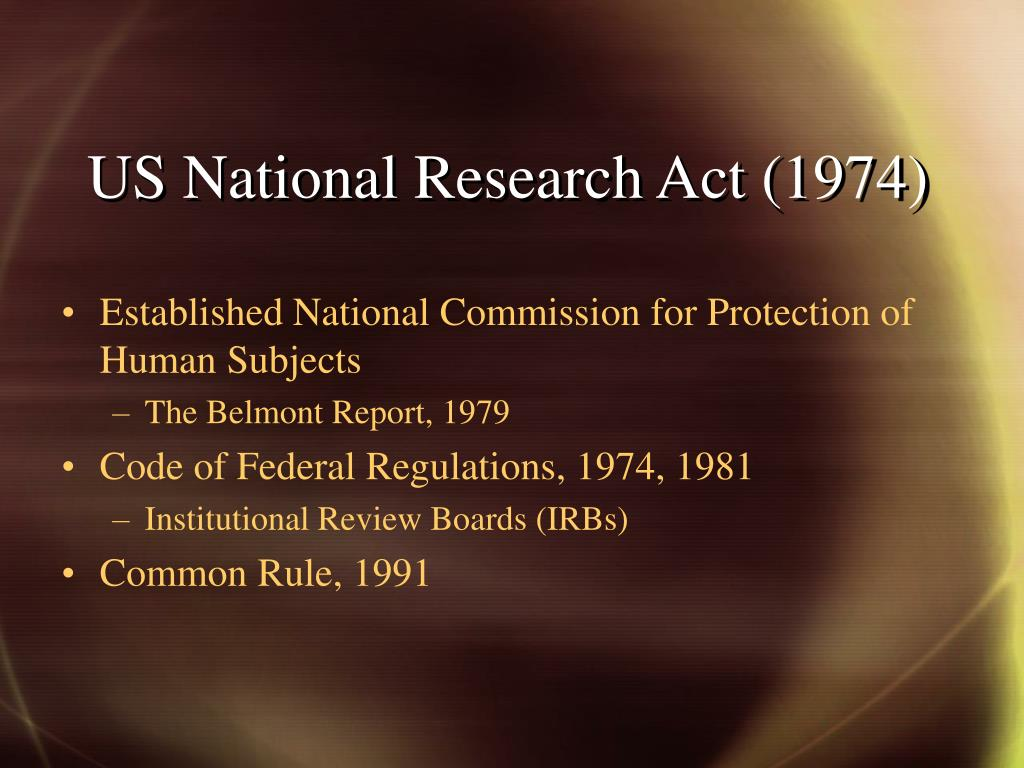 US National Research Act (1974)