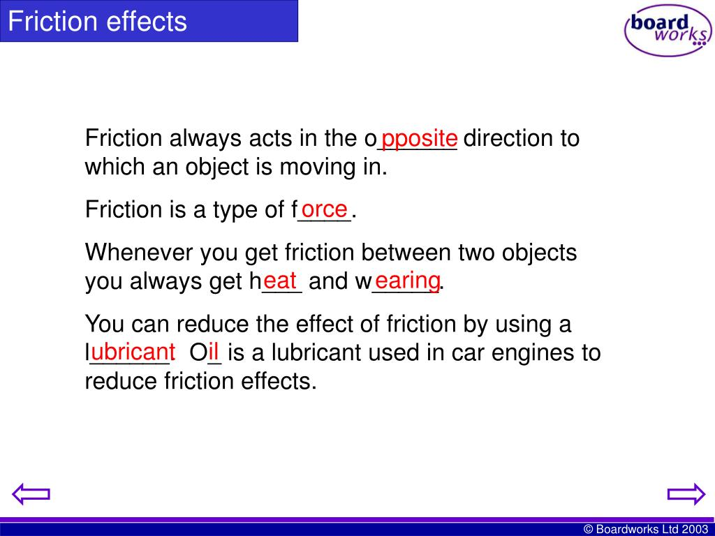 Friction effects