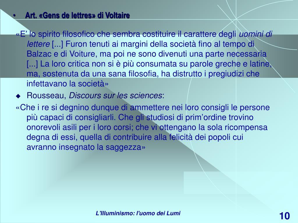 Art. «Gens de lettres» di Voltaire