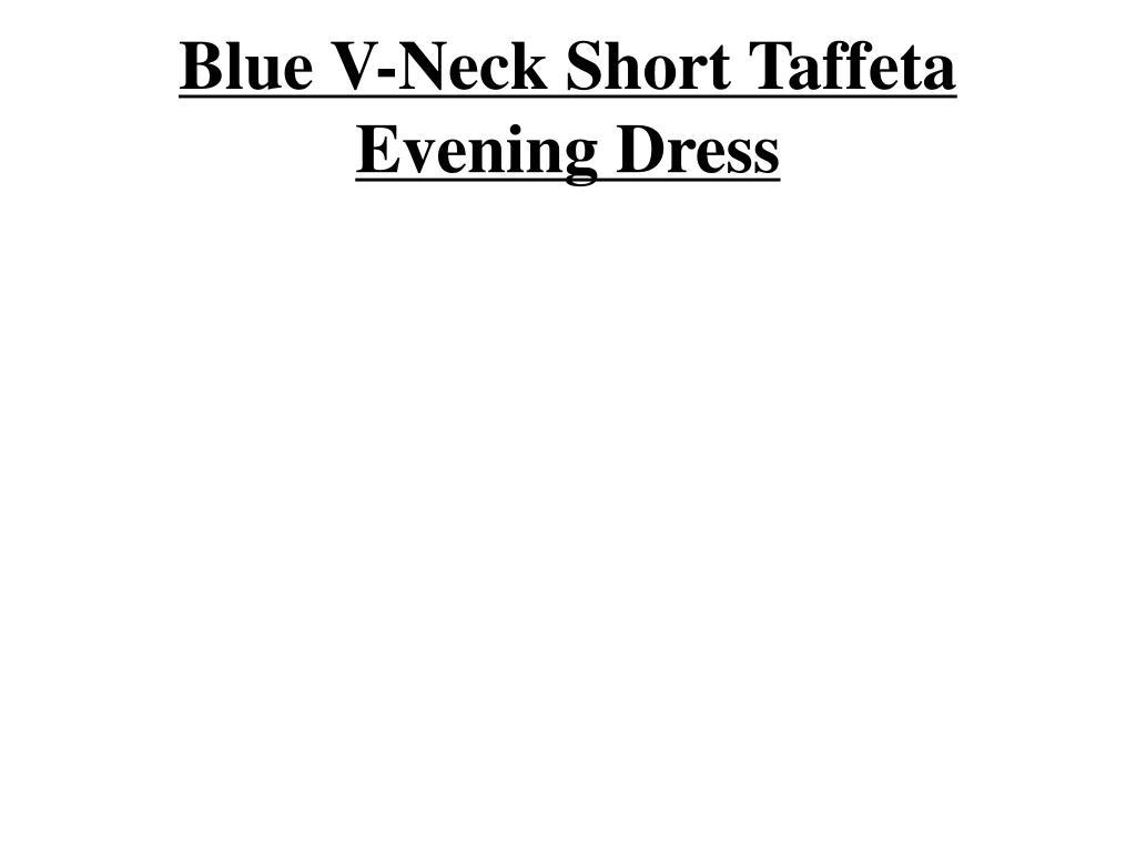 Blue V-Neck Short Taffeta Evening Dress