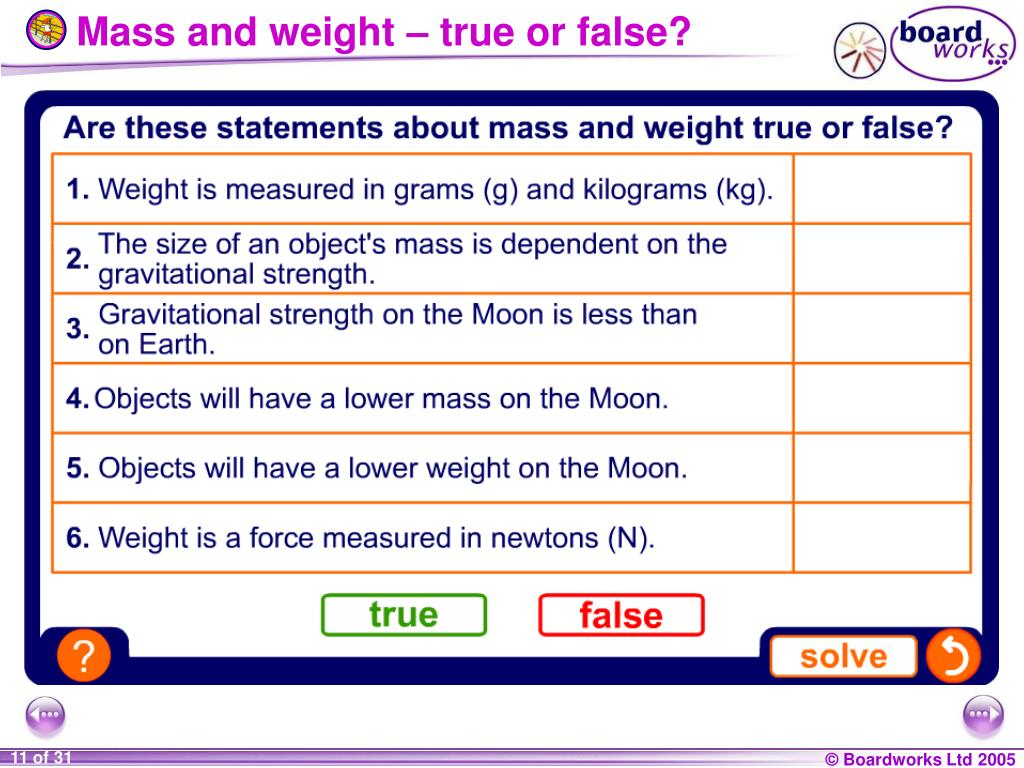 Mass and weight – true or false?