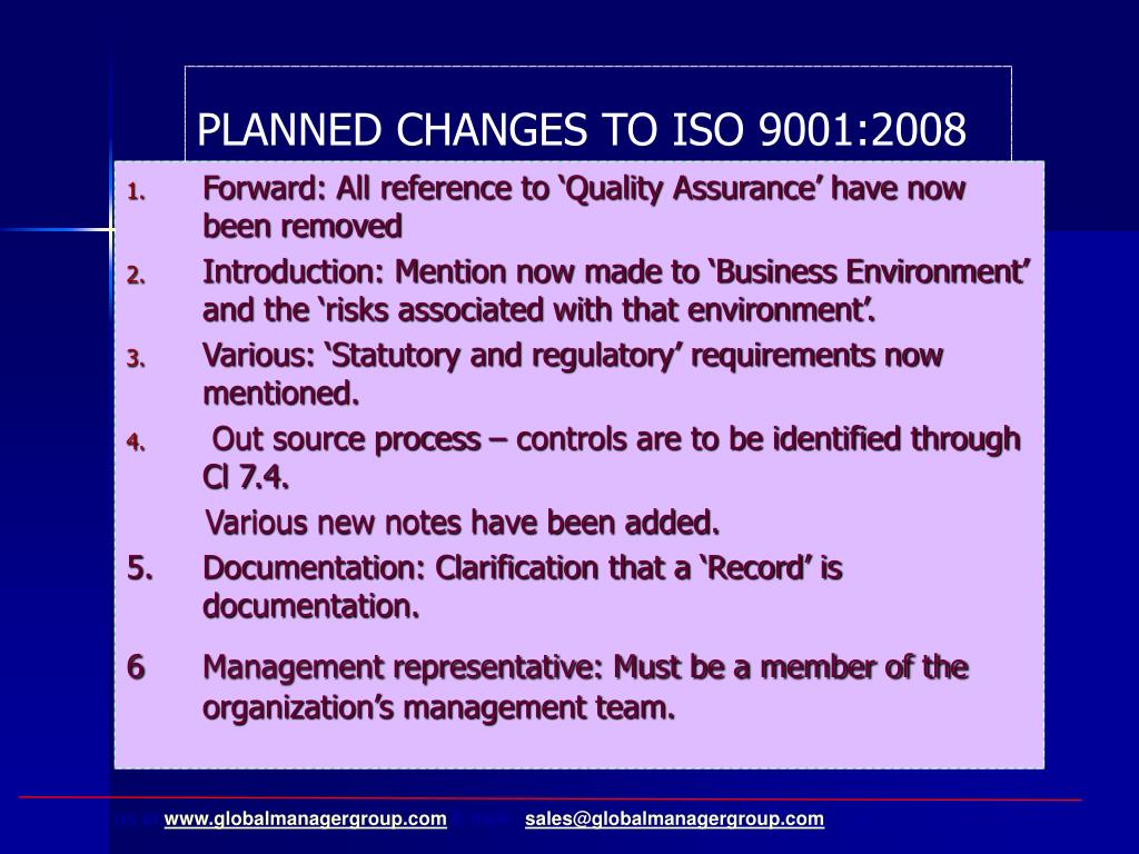 PLANNED CHANGES TO ISO 9001:2008