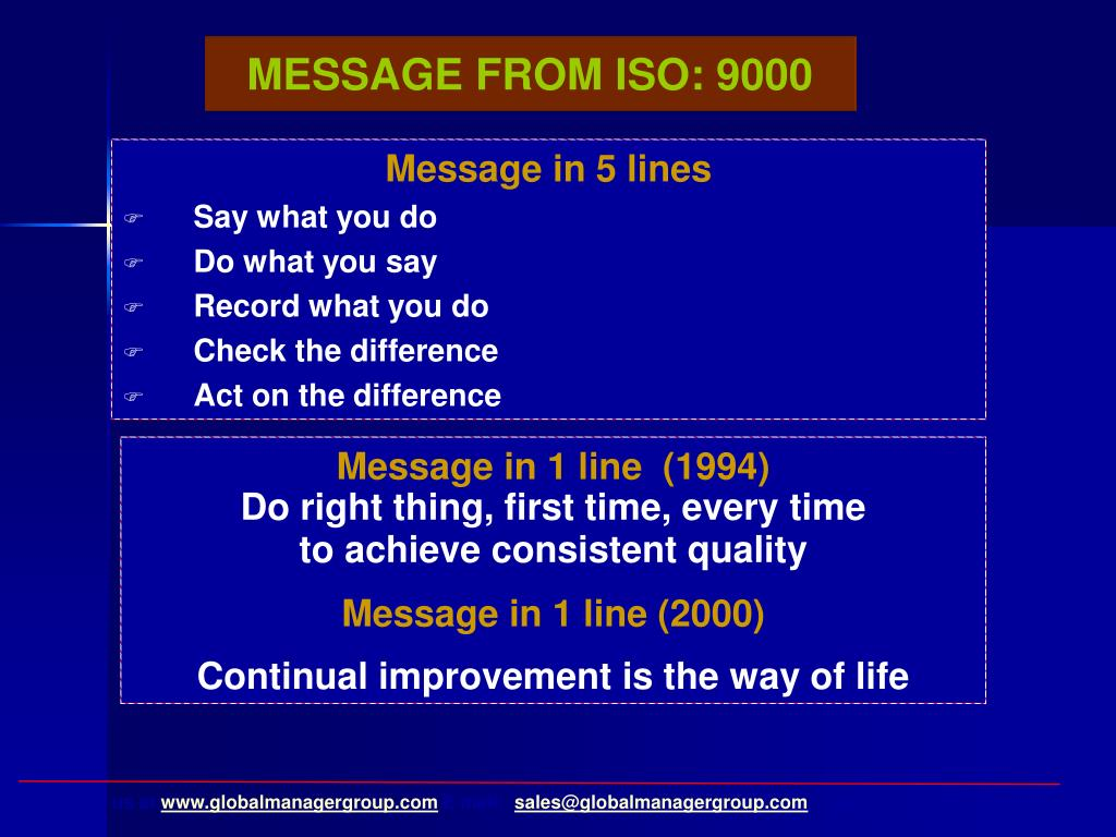 MESSAGE FROM ISO: 9000