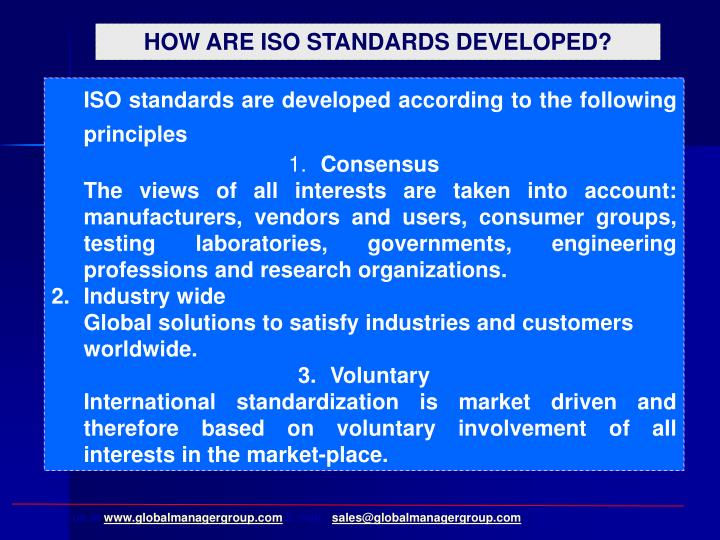 HOW ARE ISO STANDARDS DEVELOPED?