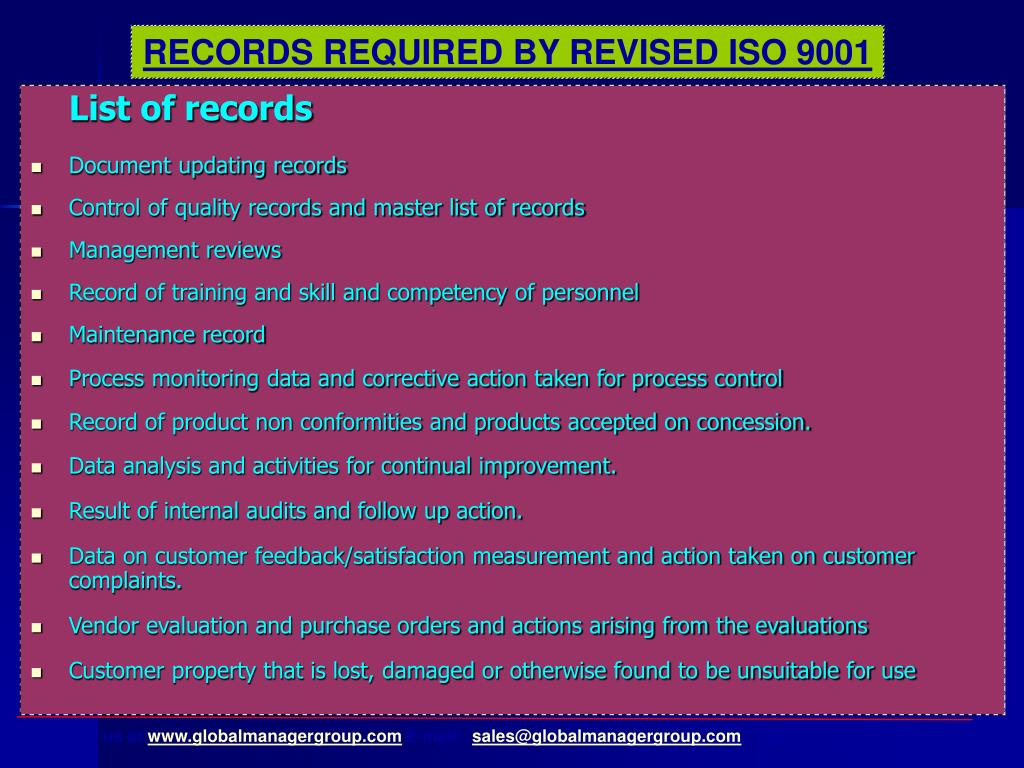 RECORDS REQUIRED BY REVISED ISO 9001