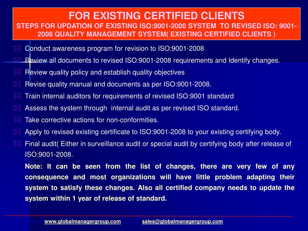 FOR EXISTING CERTIFIED CLIENTS