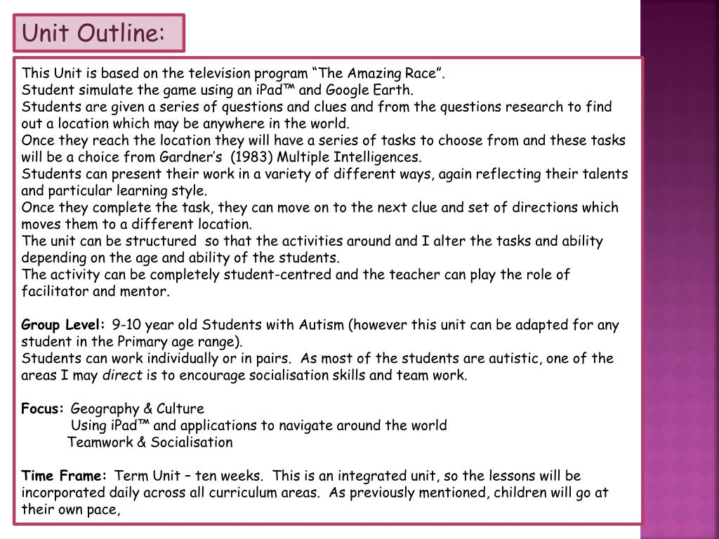 Unit Outline:
