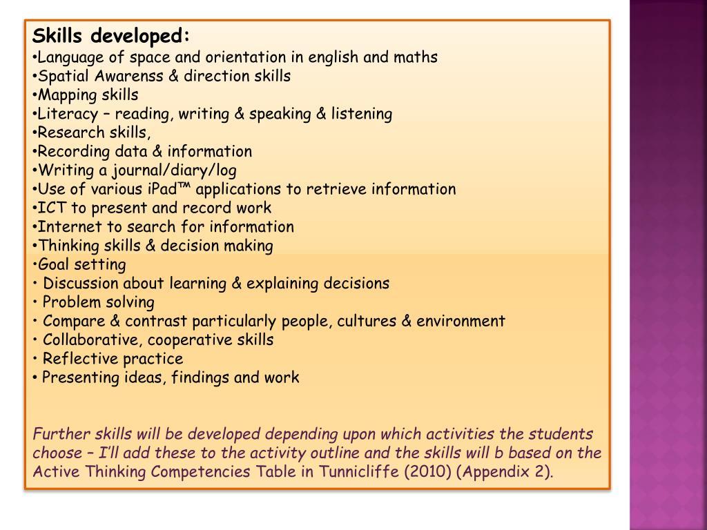 Skills developed: