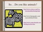 so do you like animals