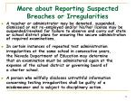 more about reporting suspected breaches or irregularities