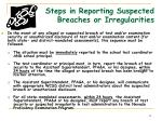 steps in reporting suspected breaches or irregularities