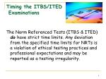 timing the itbs ited examinations