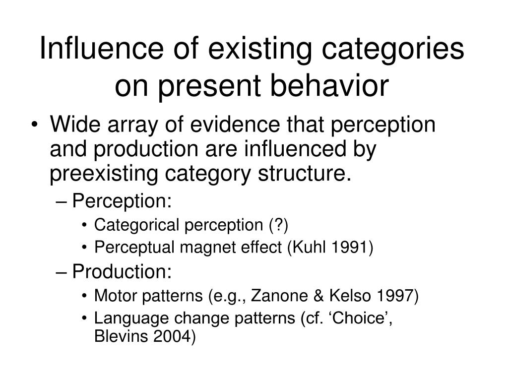 Influence of existing categories on present behavior