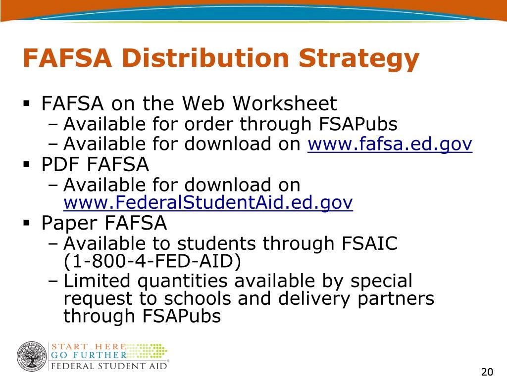 FAFSA Distribution Strategy