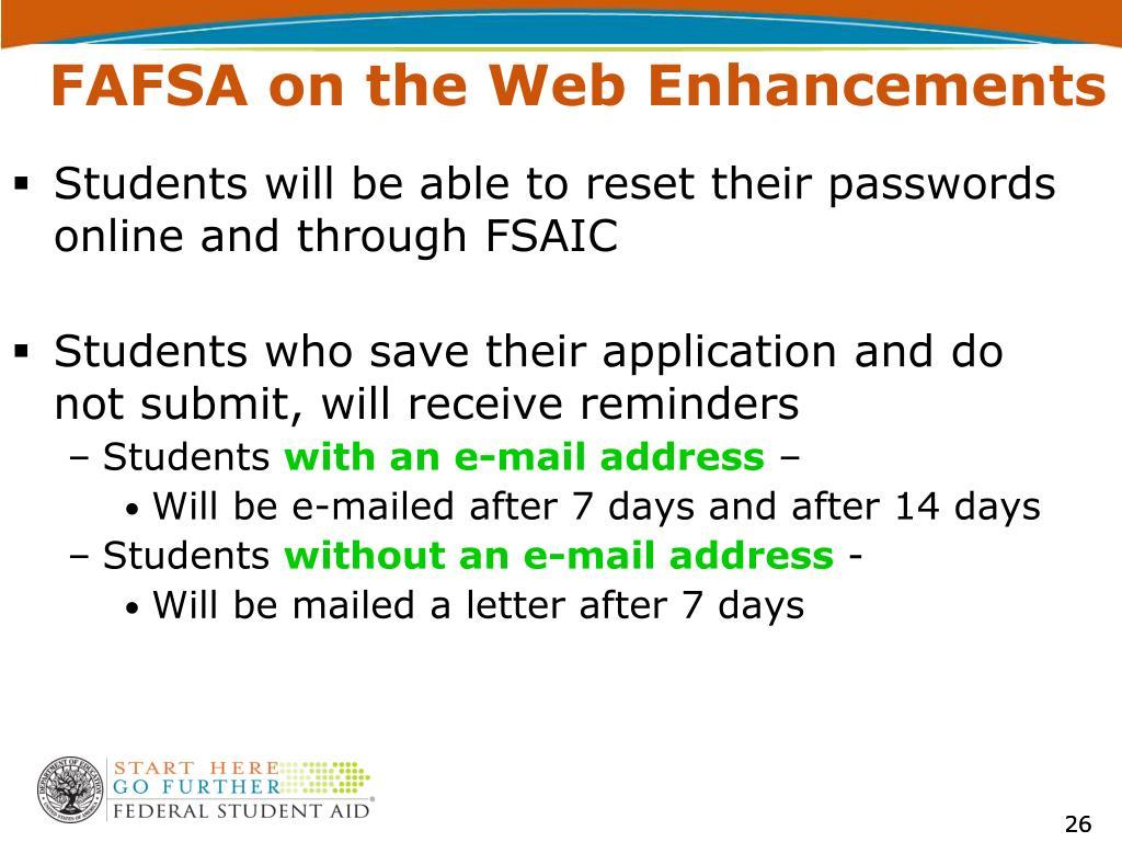 FAFSA on the Web Enhancements