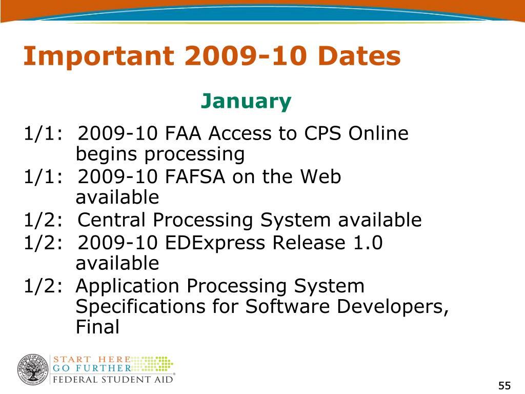 Important 2009-10 Dates