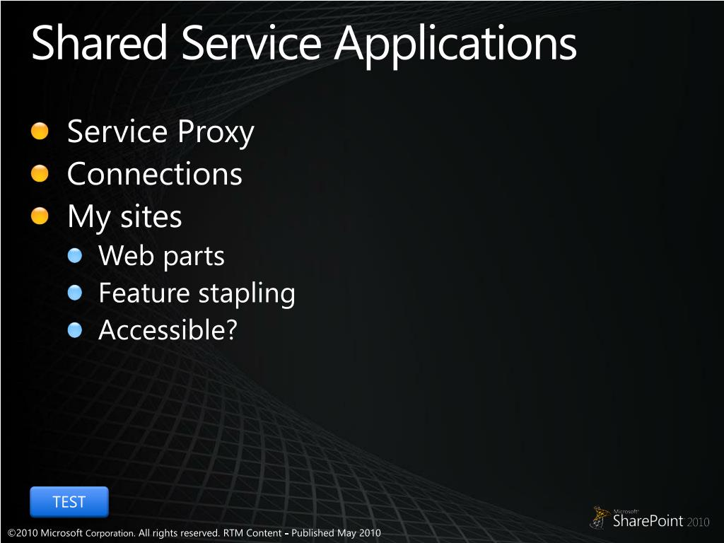 Shared Service Applications
