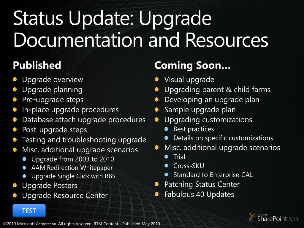 Status Update: Upgrade Documentation and Resources