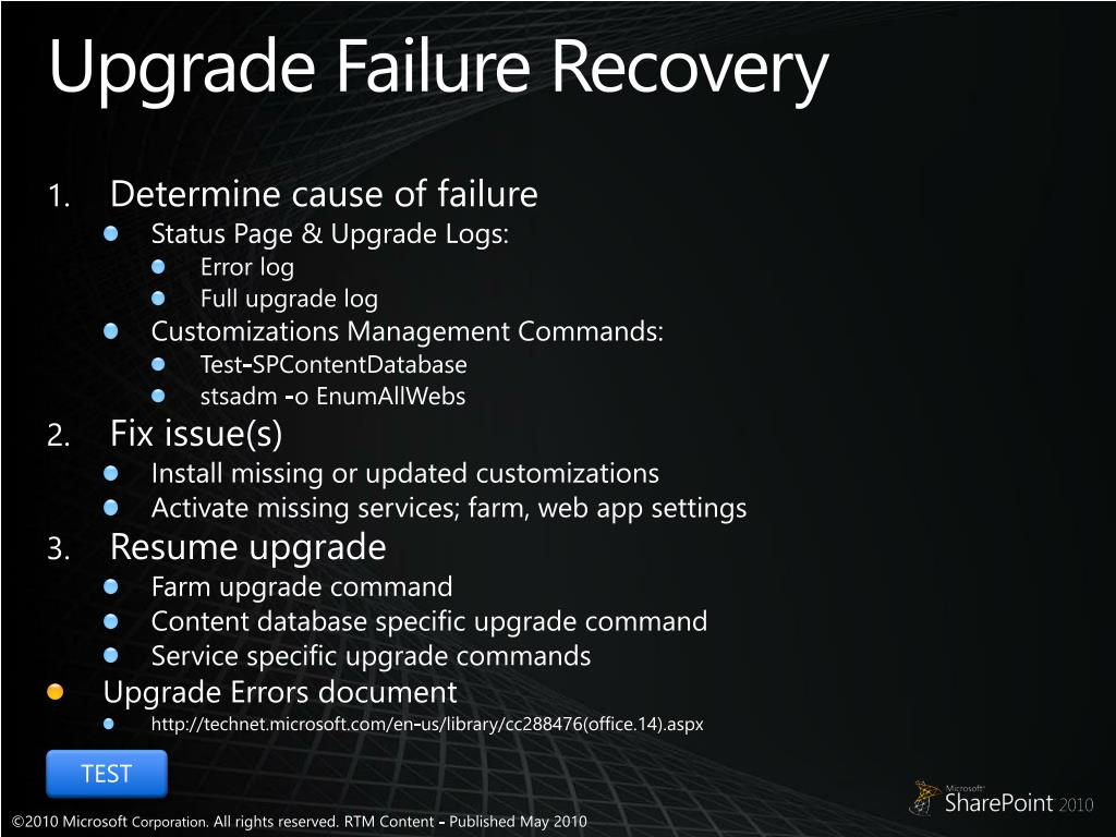 Upgrade Failure Recovery