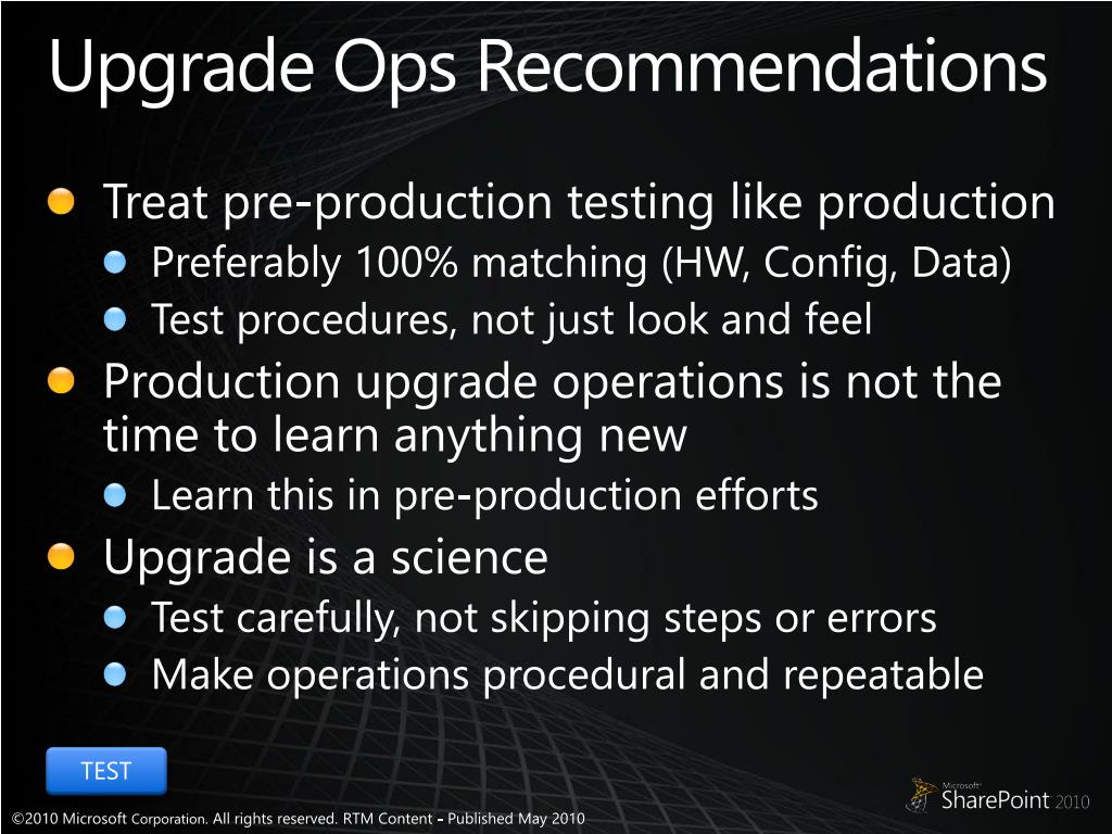 Upgrade Ops Recommendations