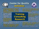 center for quality activities