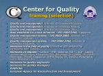 center for quality training selection