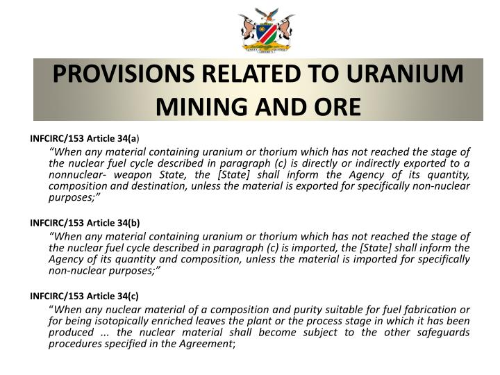Provisions related to uranium mining and ore