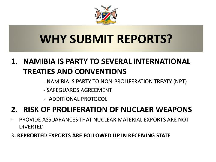 Why submit reports
