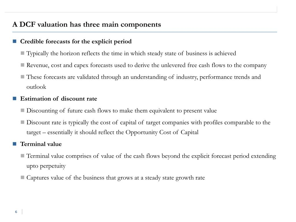A DCF valuation has three main components