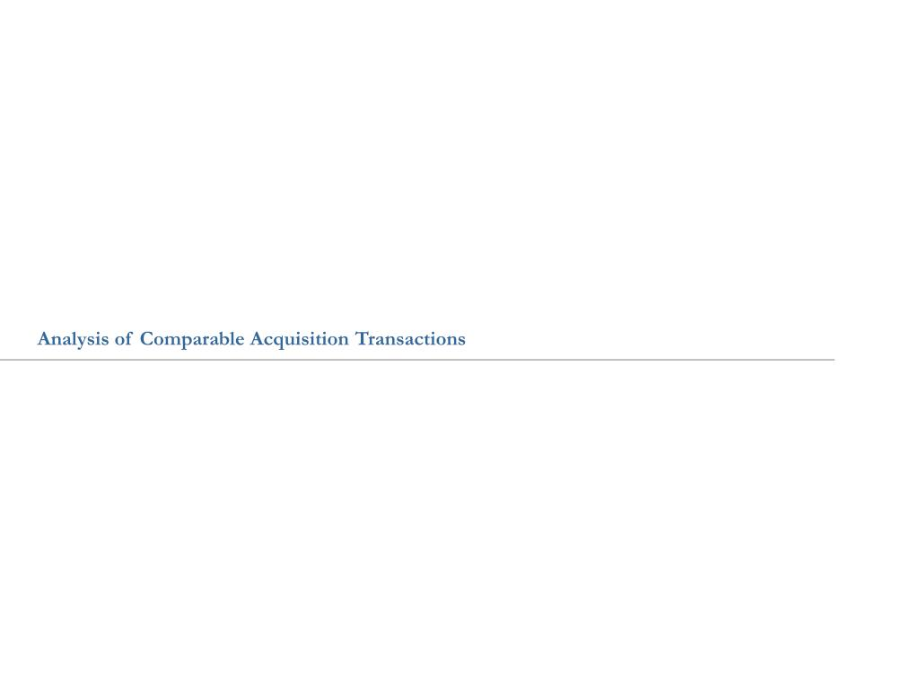 Analysis of Comparable Acquisition Transactions