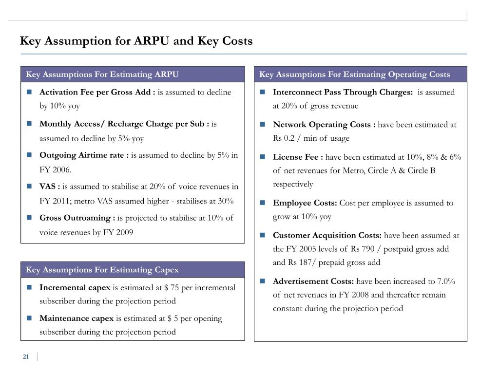 Key Assumption for ARPU and Key Costs