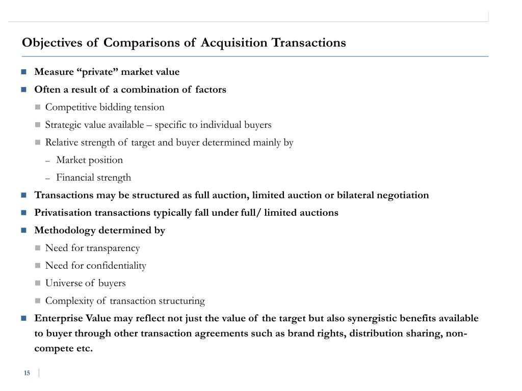 Objectives of Comparisons of Acquisition Transactions