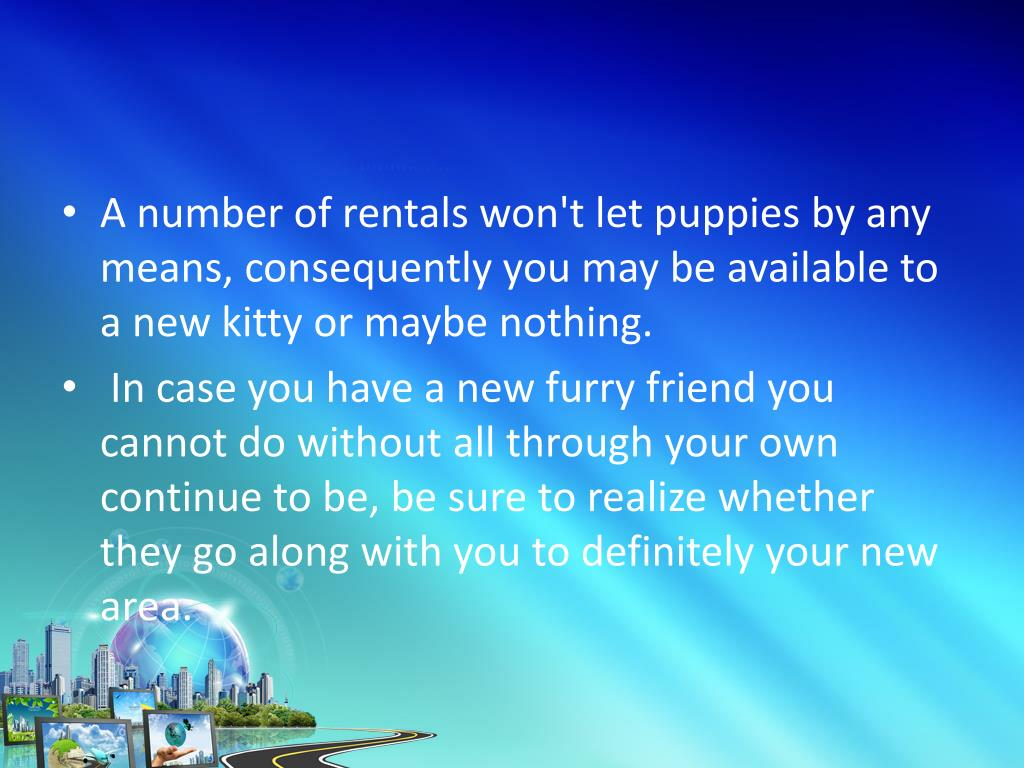A number of rentals won't let puppies by any means, consequently you may be available to a new kitty or maybe nothing