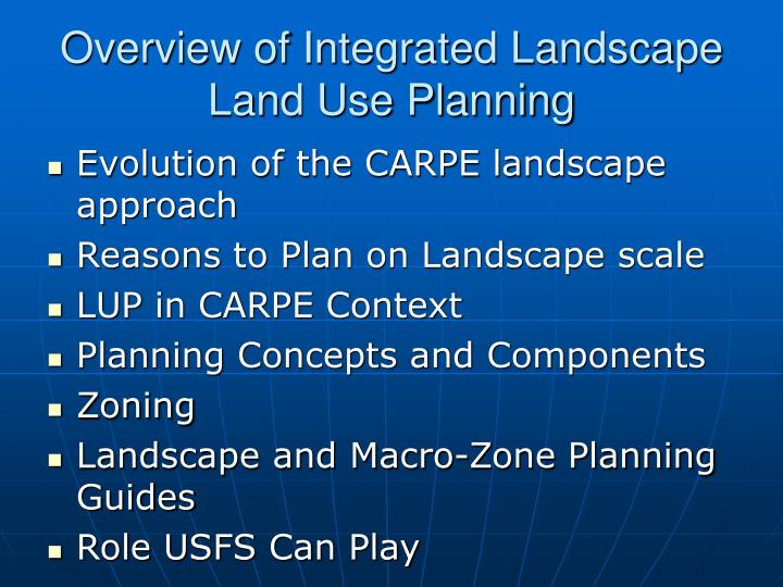 Overview of integrated landscape land use planning2