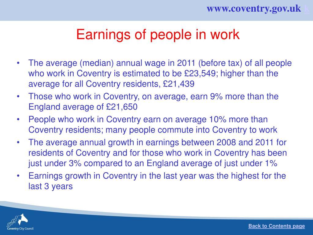 Earnings of people in work