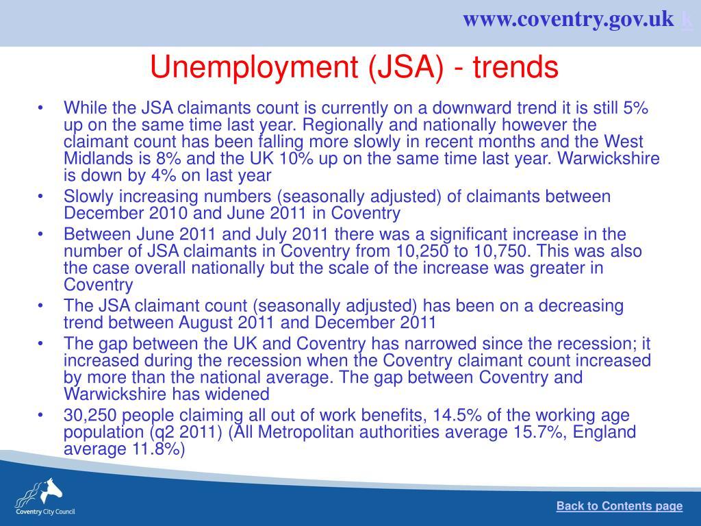 Unemployment (JSA) - trends