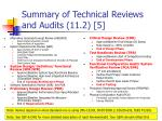 summary of technical reviews and audits 11 2 5