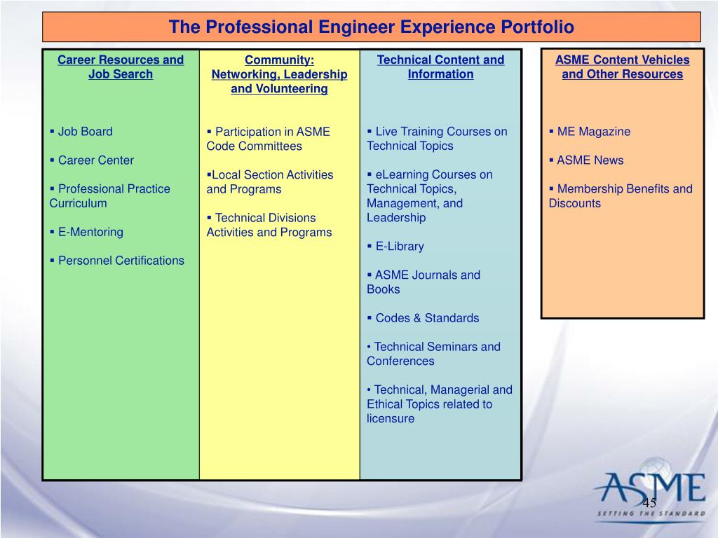 The Professional Engineer Experience Portfolio