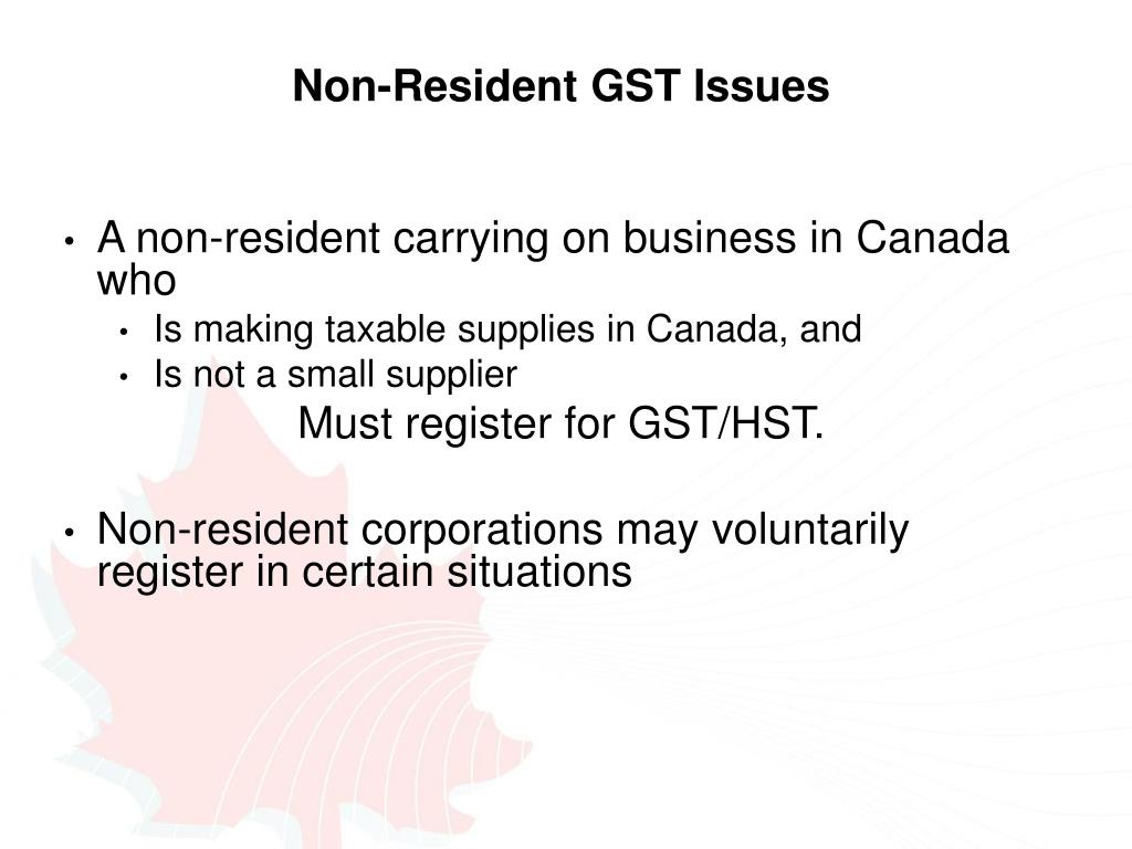 Non-Resident GST Issues