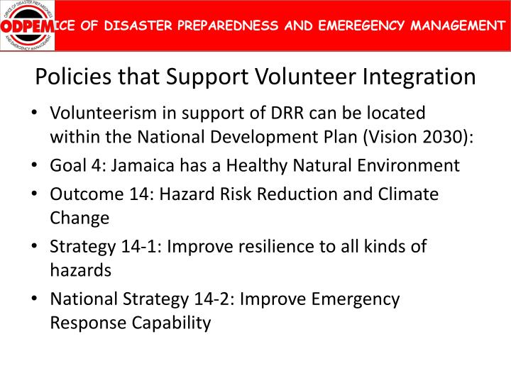 Policies that support volunteer integration