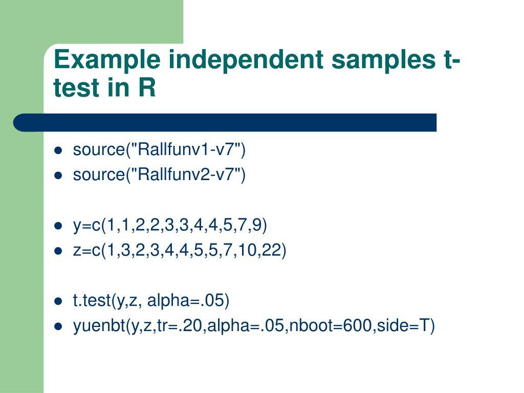 Example independent samples t-test in R
