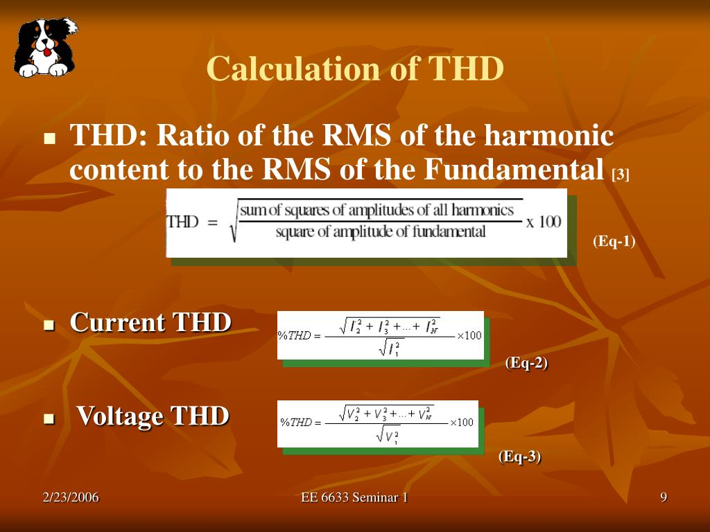 Calculation of THD