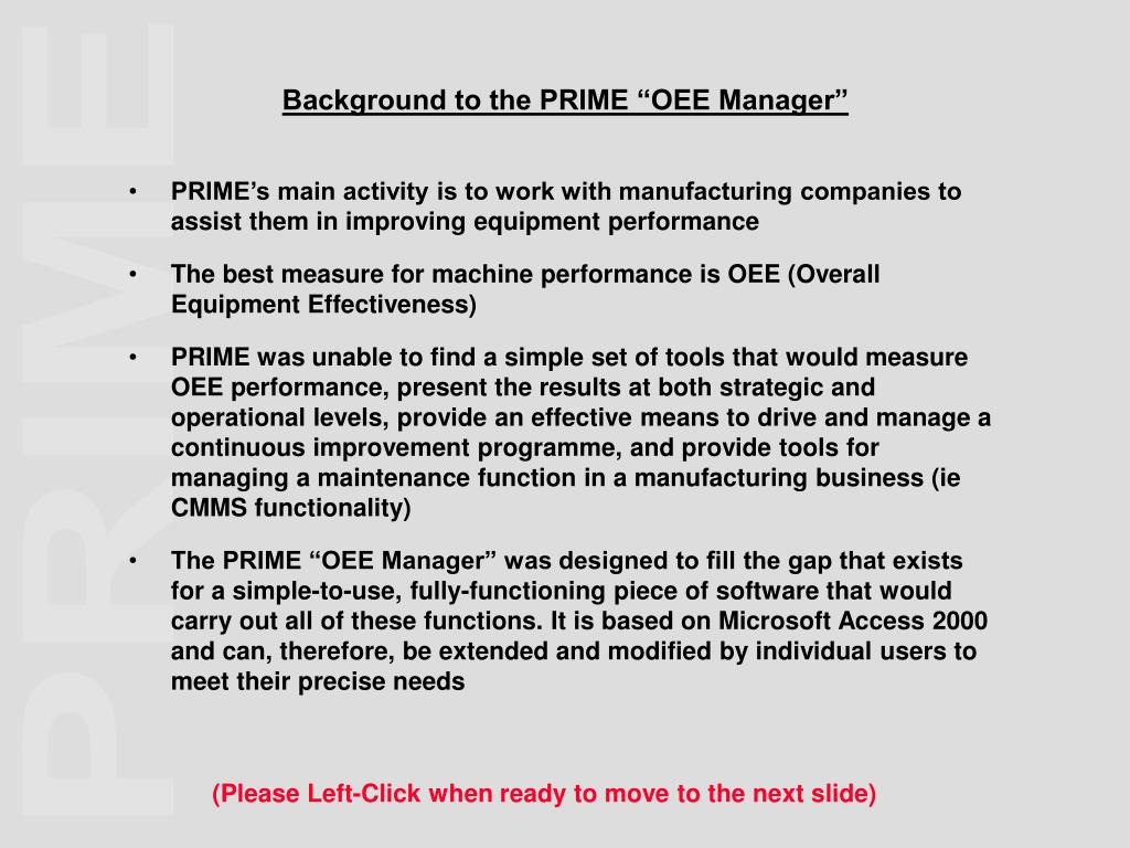 """Background to the PRIME """"OEE Manager"""""""