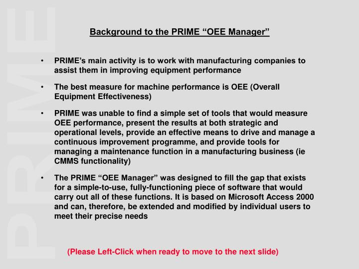 Background to the prime oee manager